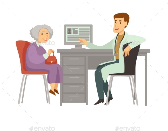 Old Woman Patient Visit Doctor Vector Cartoon Icon - Health/Medicine Conceptual