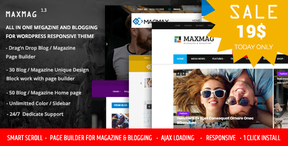 Maxmag - Magazine and Blogging WordPress Theme - News / Editorial Blog / Magazine