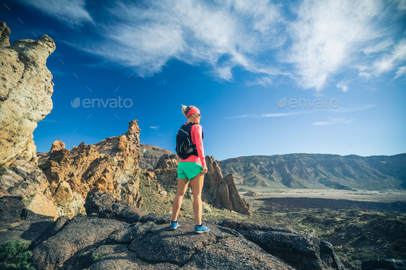 Reached life goal, girl looking at inspirational landscape - Stock Photo - Images