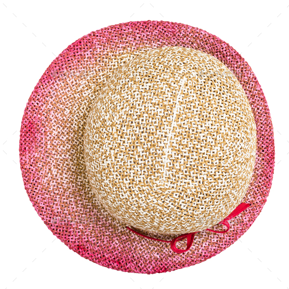 top view of straw hat with pink narrow brim - Stock Photo - Images