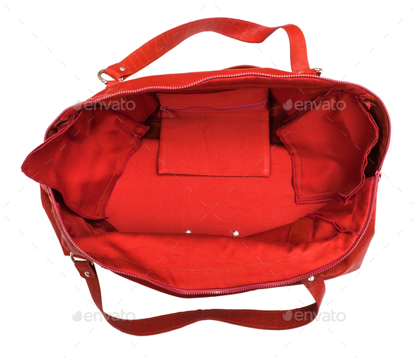 top view of open empty red travelling bag isolated - Stock Photo - Images