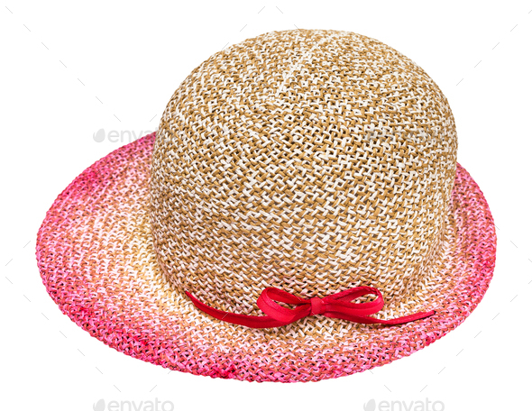 side view of straw hat with pink narrow brim - Stock Photo - Images