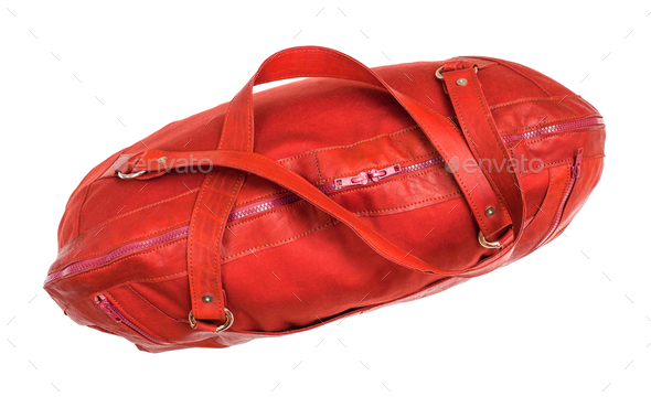top view of closed red travelling bag isolated - Stock Photo - Images
