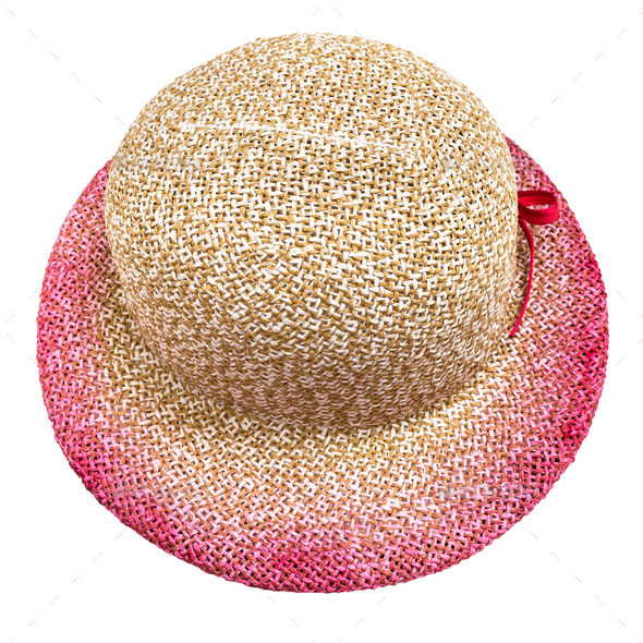 above view of straw hat with pink narrow brim - Stock Photo - Images