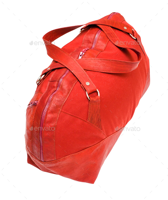 above view of red travelling bag isolated - Stock Photo - Images