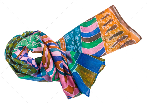 knotted scarf painted in batik technique isolated - Stock Photo - Images
