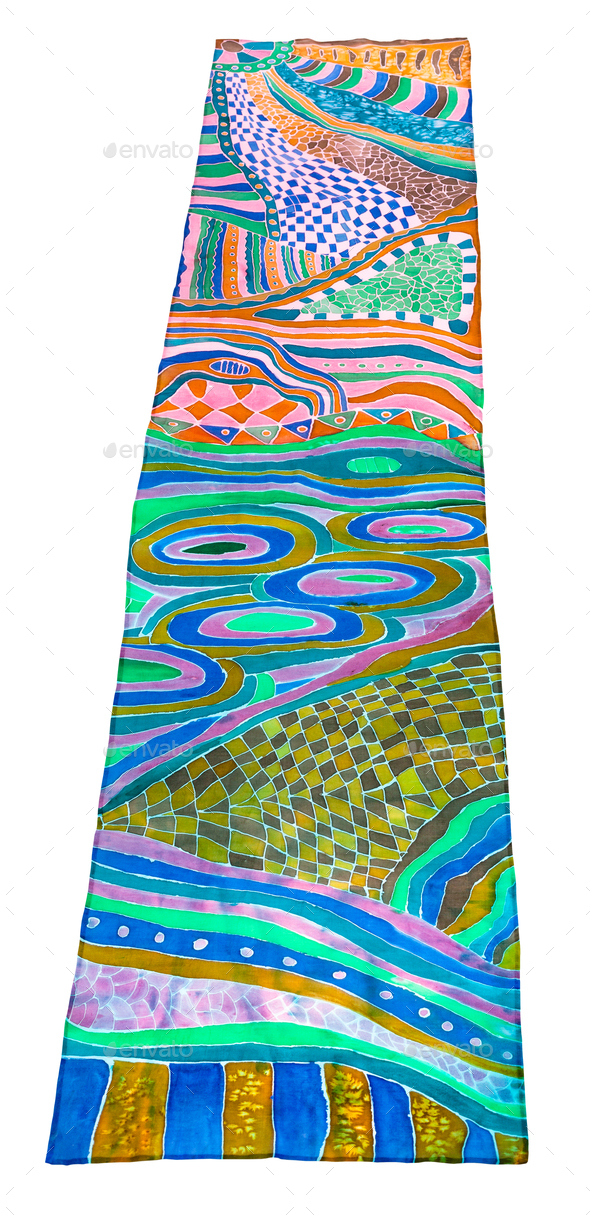 above view of scarf painted in batik technique - Stock Photo - Images