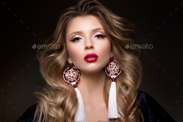 Glamour portrait of beautiful woman model with red lips - Stock Photo - Images