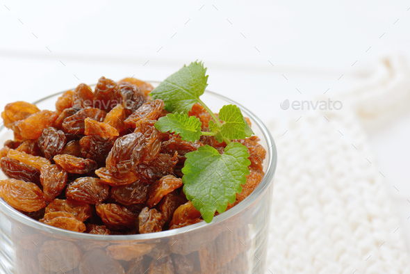 glass of sweet raisins - Stock Photo - Images