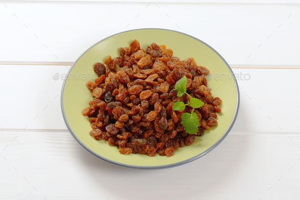 plate of sweet raisins - Stock Photo - Images