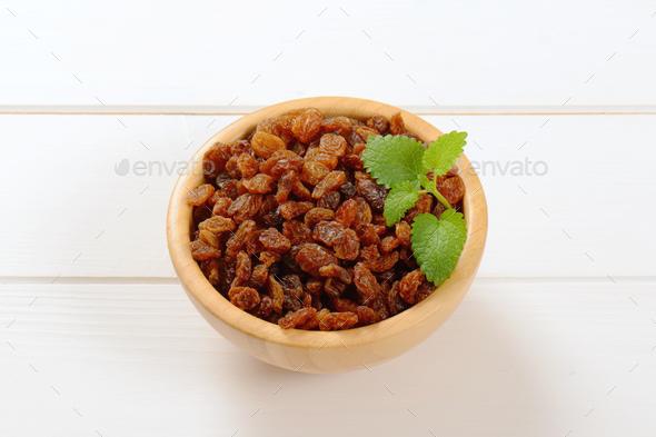 bowl of sweet raisins - Stock Photo - Images