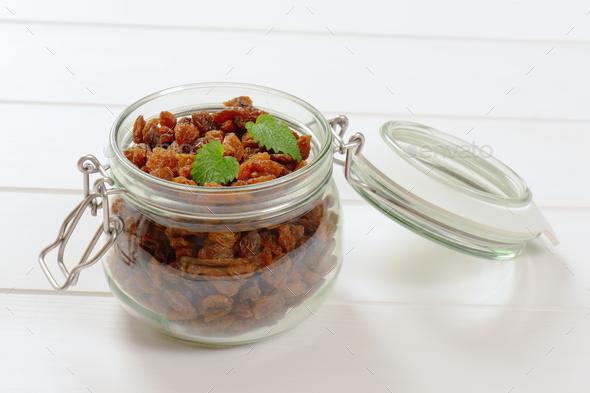 jar of sweet raisins - Stock Photo - Images