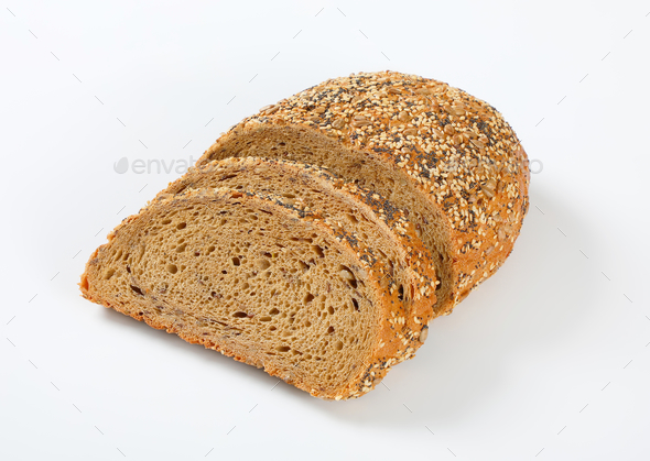 bread with poppy, sunflower and sesame seeds - Stock Photo - Images