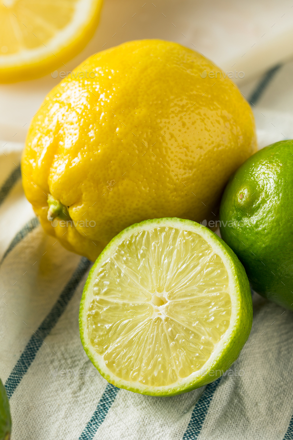Raw Organic Lemons and LImes - Stock Photo - Images
