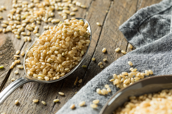 Raw Organic Short Grain Brown Rice - Stock Photo - Images