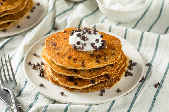 Homemade Chocolate Chip Pancakes - Stock Photo - Images