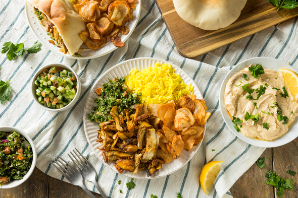 Homemade Chicken Shawarma Plate - Stock Photo - Images