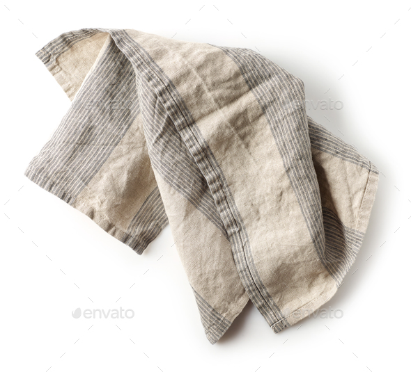 linen napkin on white background - Stock Photo - Images