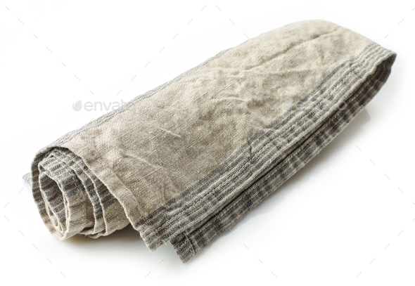linen napkin on white background - Stock Photo - Images