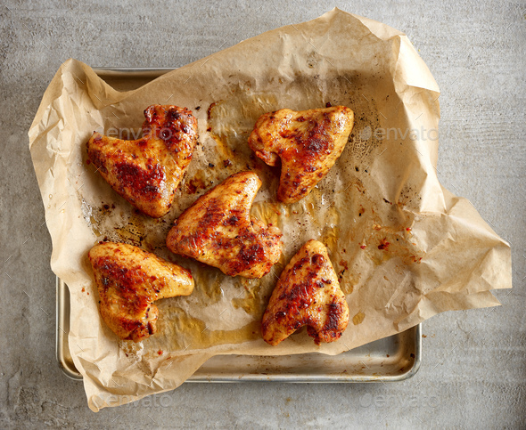 Roasted chicken wings - Stock Photo - Images