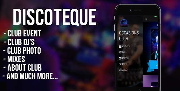 DISCOTEQUE - for night clubs, bars, discos, DJs (iOS) - CodeCanyon Item for Sale