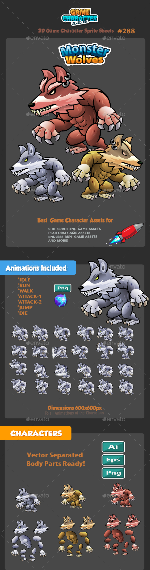 Wolves 2D Game Character Sprites 288 - Sprites Game Assets