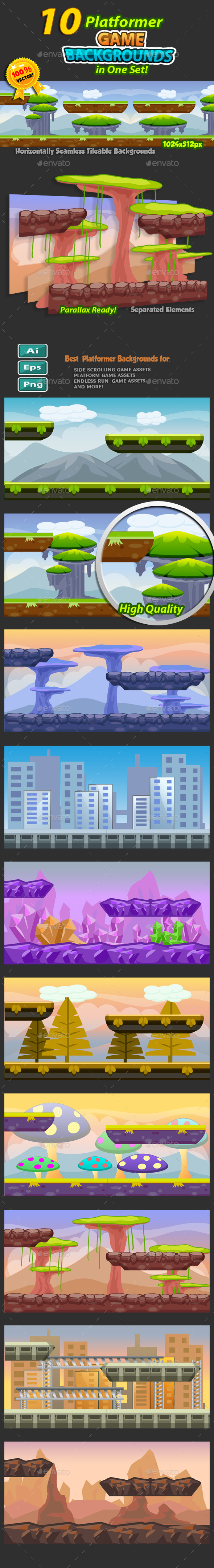 10 Platformer Game Backgrounds Set 02 - Backgrounds Game Assets