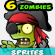 6  Pirate Zombies Character Sprites Pack - GraphicRiver Item for Sale