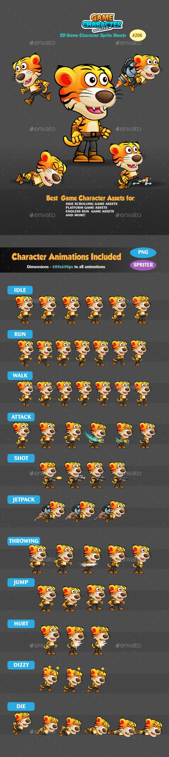 Tiger Warrior 2 Game Character Sprites 206 - Sprites Game Assets