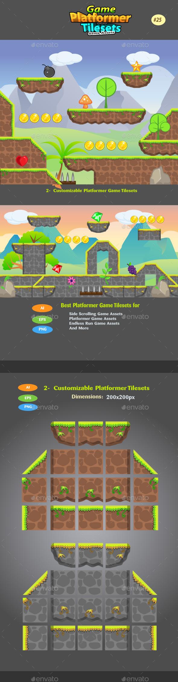 2D Game  Platformer Tilesets 25 - Tilesets Game Assets