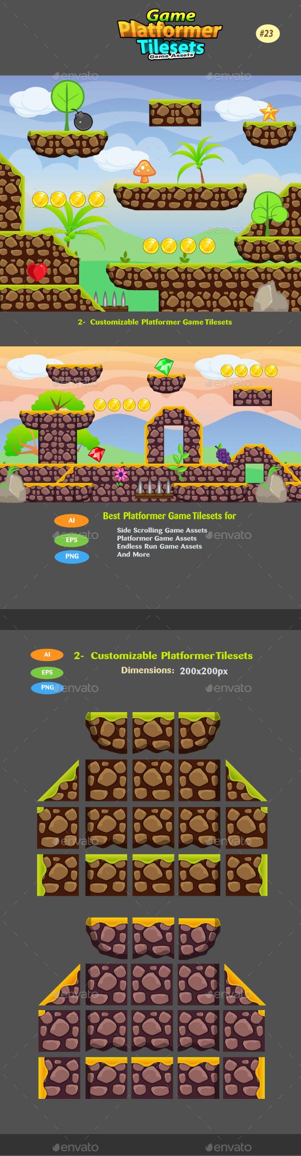 2D Game Platformer Tilesets 23 - Tilesets Game Assets