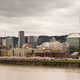 Downtown City Skyline Portland Oregon Willamette River Spring Blooms - PhotoDune Item for Sale