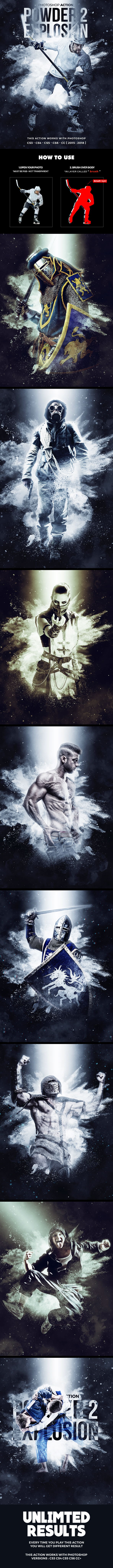 Powder Explosion 2 Photoshop Action - Photo Effects Actions