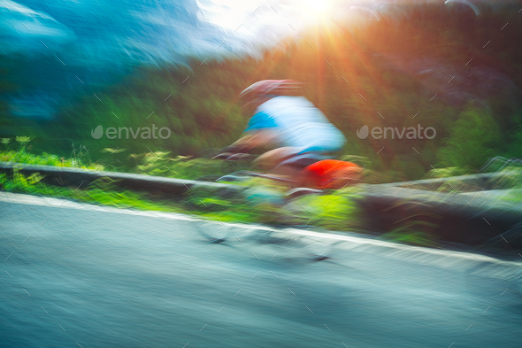 Cyclist in motion - Stock Photo - Images