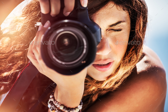 Beautiful photographer girl - Stock Photo - Images