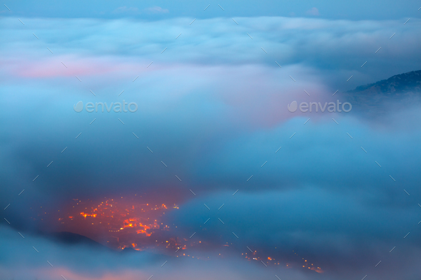 Bird's eye view on Faraya mountain - Stock Photo - Images