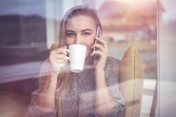 Calm female on the phone - Stock Photo - Images