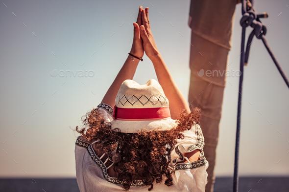 Woman doing yoga exercises - Stock Photo - Images