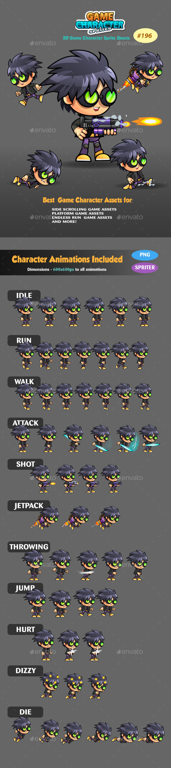 2D Game Character Sprites 196 - Sprites Game Assets