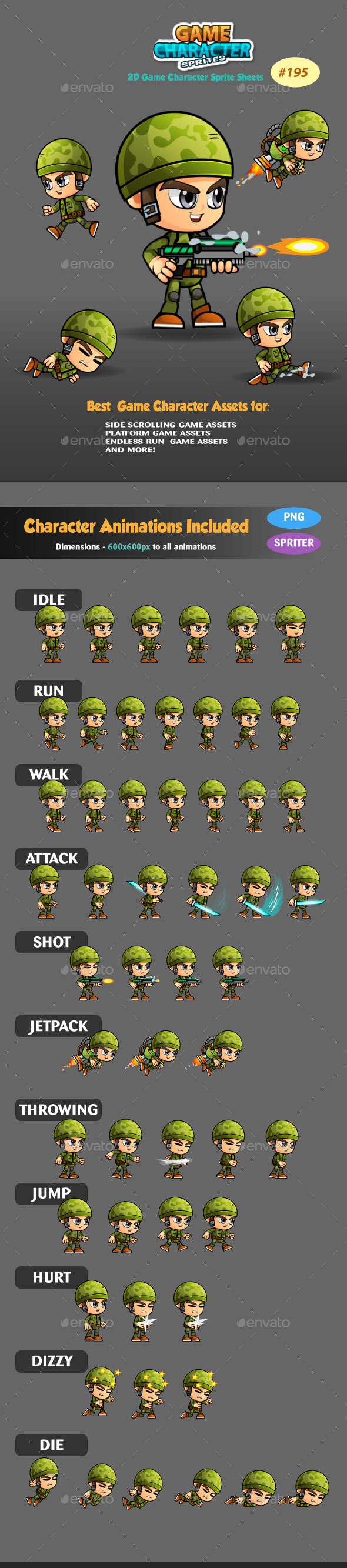 Sodlier 2D Game Character Sprites 195 - Sprites Game Assets