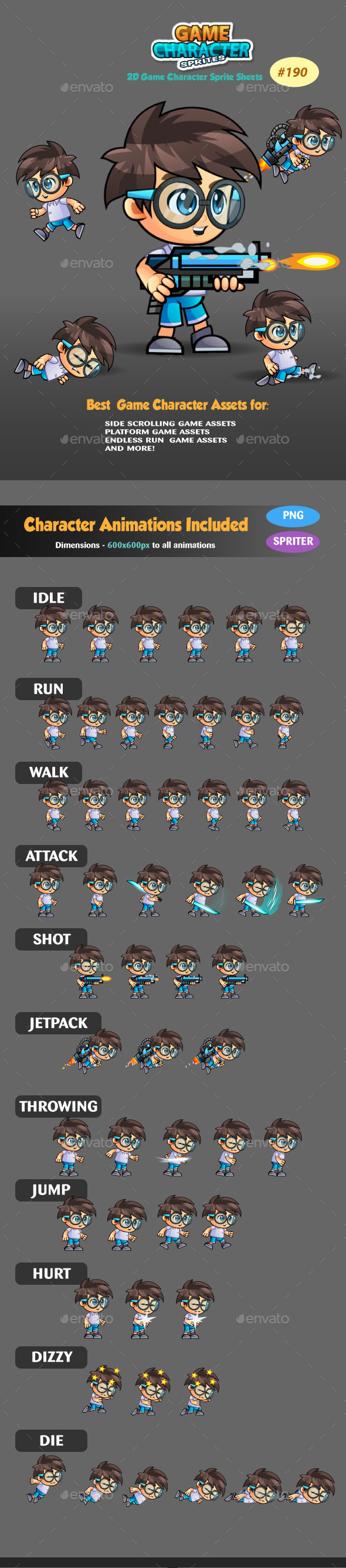 2D Game Character Sprites 190 - Sprites Game Assets