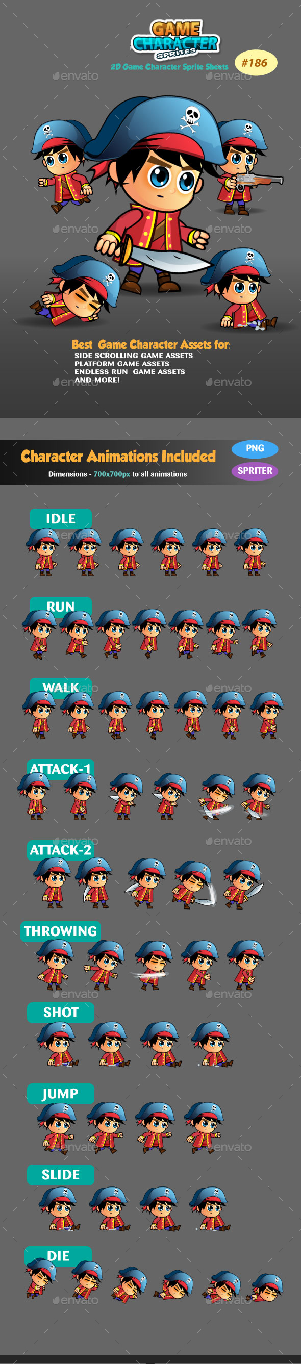 Pirate 2D Game Character Sprite Sheets 186 - Sprites Game Assets