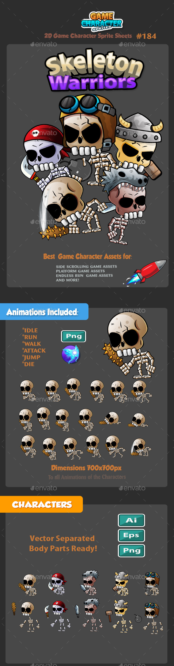 Skeleton Warriors 2D Game Character Sprites 184 - Sprites Game Assets
