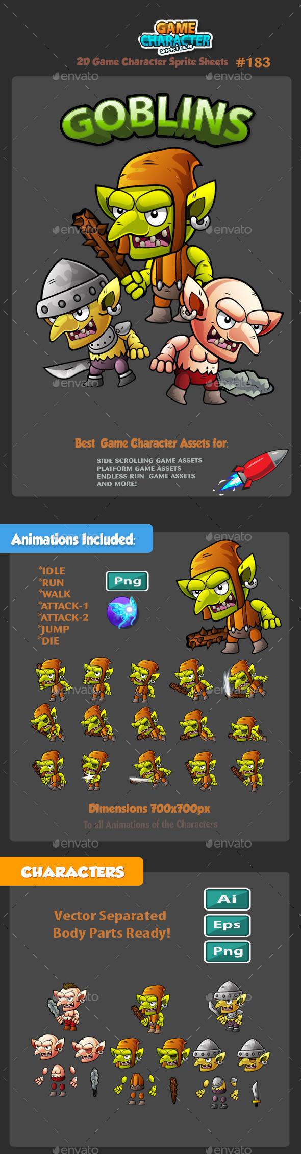 Goblins 2D Game Character Sprites 183 - Sprites Game Assets