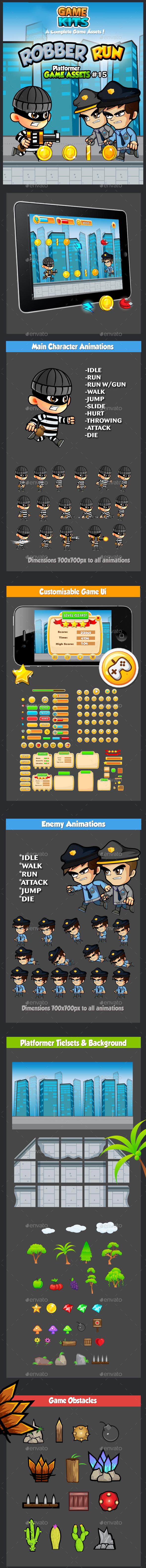 Robber Run Platformer Game Assets 15 - Game Kits Game Assets