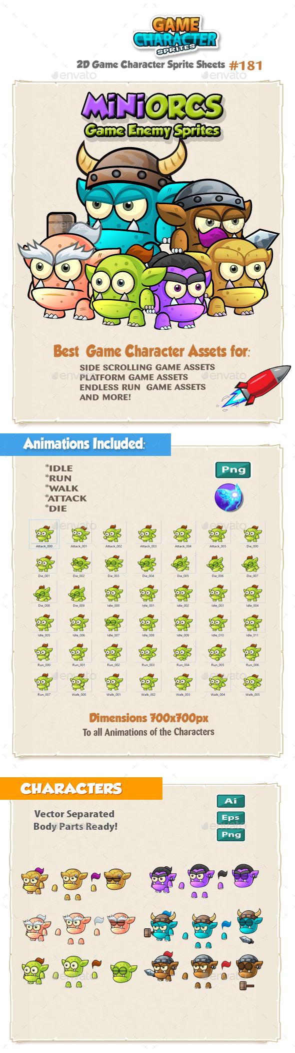 Mini Orcs Game Character Sprites 181 - Sprites Game Assets