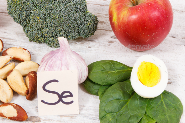 Food containing selenium, vitamins and dietary fiber, healthy nutrition concept - Stock Photo - Images
