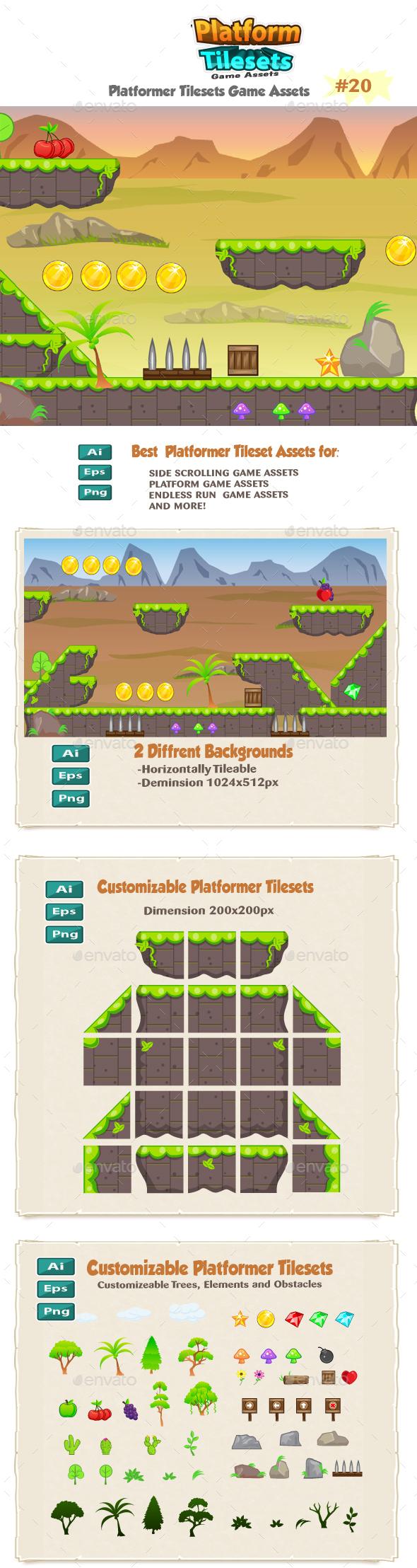 Landscape Platformer Game Tilesets 20 - Tilesets Game Assets
