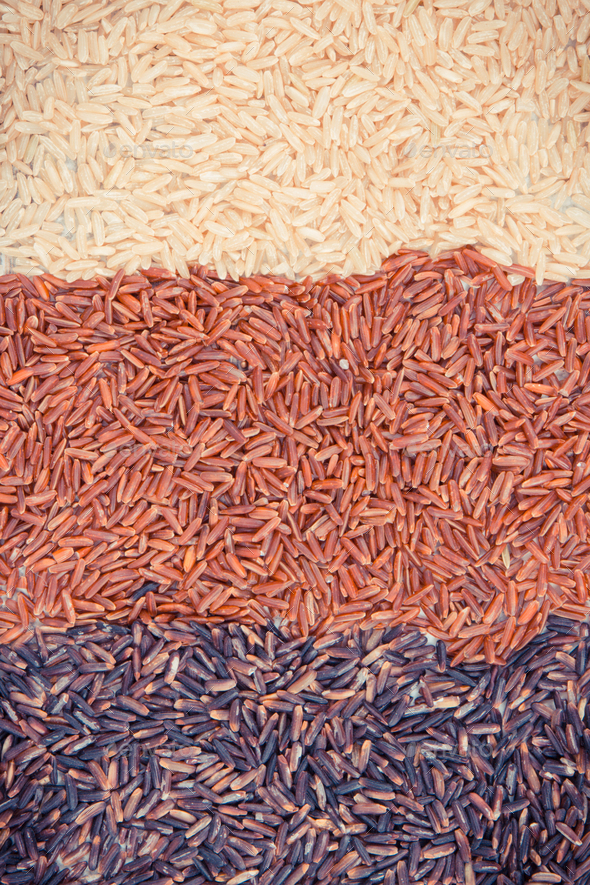 Vintage photo, Brown, black and red rice as background, healthy gluten free food concept - Stock Photo - Images
