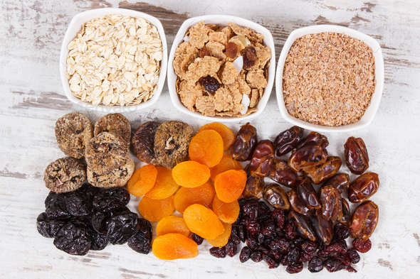 Food containing natural vitamins and dietary fiber, healthy nutrition concept - Stock Photo - Images